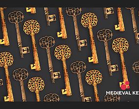 Medieval Keys Set 05 AR low-poly 3D model realtime 2