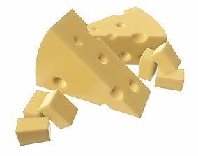 3D model Cheese triangle with square slices