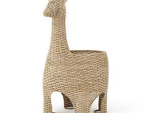 3D Llama wicker basket