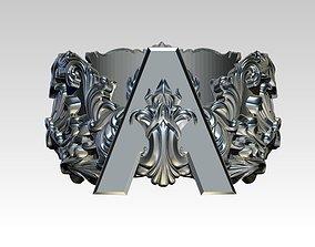 Letter A Initial Top Crown Kindom 3D printable model 5