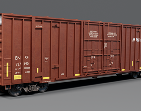 3D PBR Railway BNSF Box Car