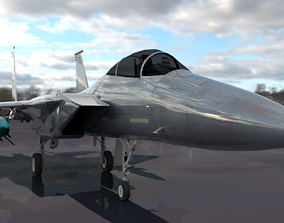 Fighter Jet F15 3D Model low-poly