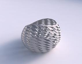 3D print model Bowl skewed with checker grid lattice