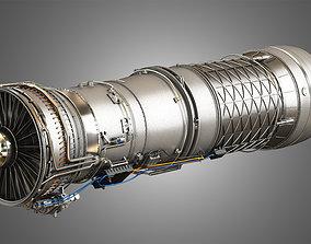 3D model F100 - PW - 220 Turbofan Engine - with Interior