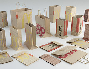 Fastfood paper bags set 3D model