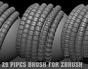 29 Pipes Brush for Zbrush 3D model