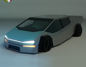 Low Poly Sci-Fi Car 02 3D model