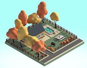game-ready Cartoon House 3d Illustration Scene