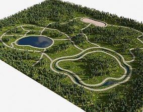 3D meadow In the park in Blender