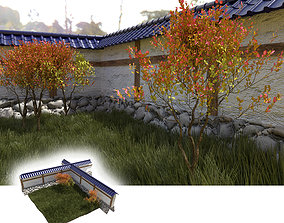 game-ready Japanese garden with wall bushes and gras 3D