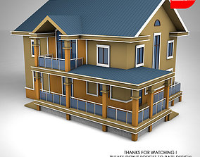 Sloped Roof House 3D asset