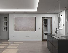 Living Room Kitchen Interior 3D model