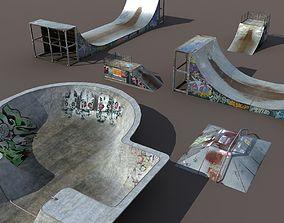 3D asset 6 skate park element Low Poly