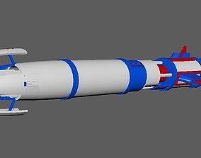 Rocket missile rigged maya 3D