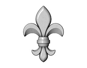 3D printable model Lys flower relief Heraldic lily onlay