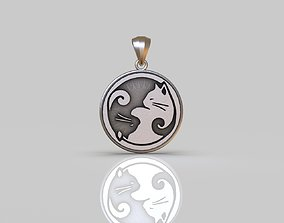 jewelry Yin and Yang Cat Pendant 3D printable model