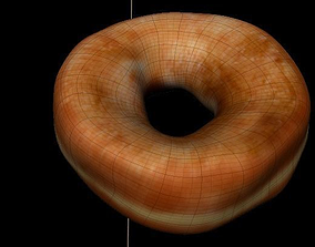 donut low poly with diferent textures 3D model