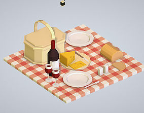 3D asset isometric objects recreation tourism cooking BBQ