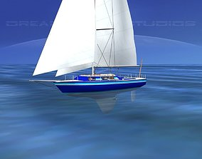 30 Foot Cutter Rigged Sloop V08 3D