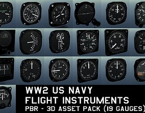 WW2 US NAVY FLIGHT INSTRUMENTS - ASSET PACK low-poly