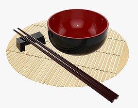 3D model Chopsticks on rest and bowl