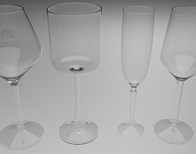 Wine glasses 3D model houseware