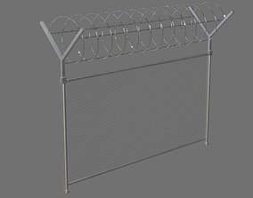 Barbed Wire Fence 1A 3D model