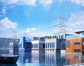 Houses Near The Factory 3D model