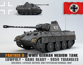 Low Poly Panzer V Panther D medium tank 3D asset