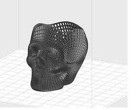 3D printable model wireframe skull pencil holder