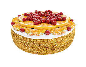 3D Cake with tangerines and cranberries