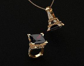 Rings 3D print model garnet