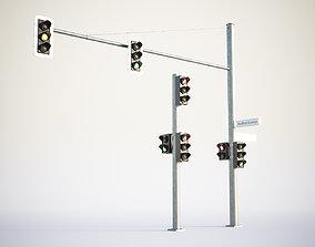 3D model Black traffic lights set