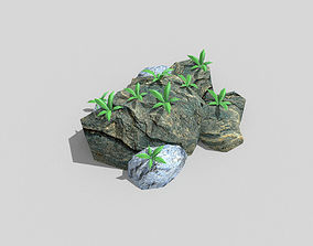 low poly beach rock 3D model