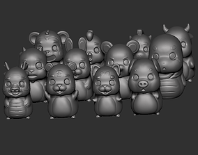 3D print model Twelve cute animals