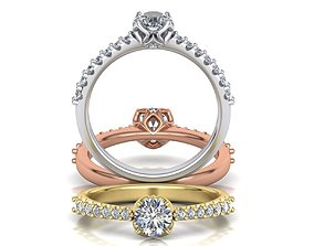3D print model Engagement ring round diamond Flowers 2