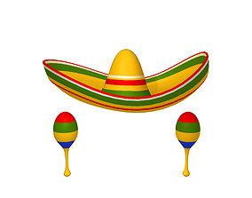 3D model Sombrero And Maracas Cartoon