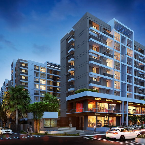 Architectural rendering of rise apartment