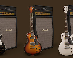 Guitar Les paul and Amp Marshall 3D model