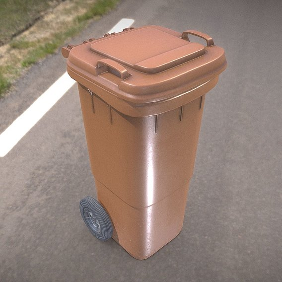 Brown plastic waste bin 60 liters 936x550x482
