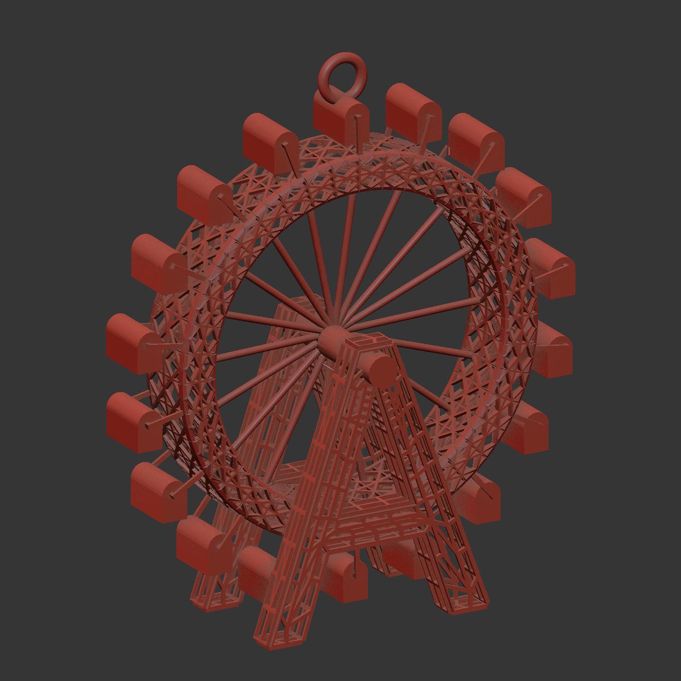 Ferris Wheel Pendant Jewelry Gold 3D print model