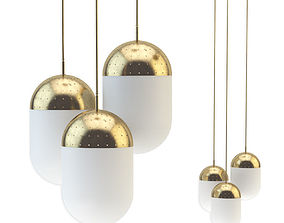 Pendant light woud gold set 3D