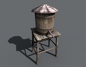 3D model Wooden water tower