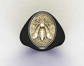 3D print model Bee Signet Hollow Rings in US Sizes