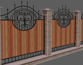 Wrought iron fence 3D