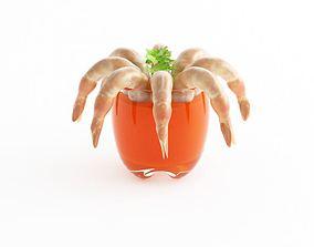 3D Shrimp Cocktail Appetizer Garnished