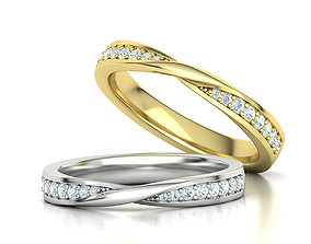 Mobius Diamond Wedding Band Women Ring 3dmodel 3mm wide