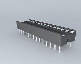 28-pin DIL socket 3D model