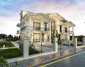 3D wrought White Classical House