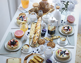 Serving table breakfast - 2 3D model